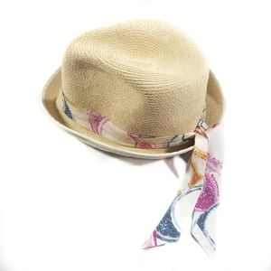 Coach Cream Staw Fedora Hat with Colorful Tie M/L